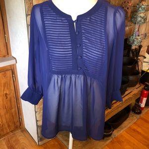 Banana Republic sheer 3/4 length sleeve blouse EUC